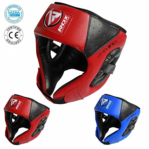 RDX Kids Head Guard Maya Hide Leather Kids Boxing Headgear MMA Children Youth Helmet (CE Certified Approved by SATRA)