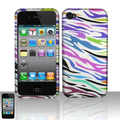 Pink Green Purple Blue Black Zebra Stripe Rubberized Design Snap on Hard Cover Protector Faceplate Skin Case for Apple Iphone 4 4G 16GB 32GB + Front & Back LCD Screen Guard Film (Free Wristband) ()