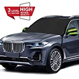 AUTOCLUB Car Windshield Snow Cover,3-Layer Protection&Double Side Design,Snow, Ice, Frost,UV Full Protection,Extra Large & Thick Fit for Most Vehicle(87'x50') (Windshield)