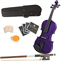 Mendini 14-Inch MA-Purple Solid Wood Viola with Case, Bow, Rosin, Bridge and Strings