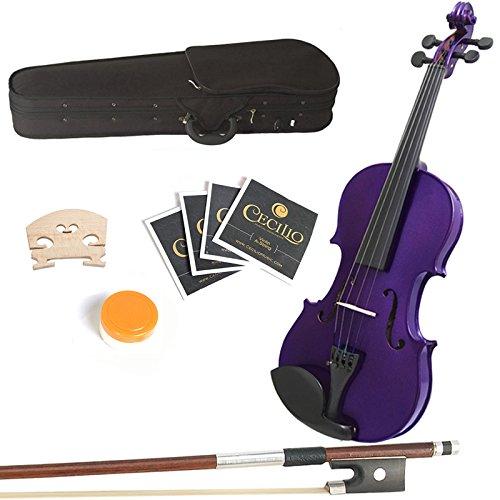 Mendini 15-Inch MA-Purple Solid Wood Viola with Case, Bow, Rosin, Bridge and Strings 15MA-Purple