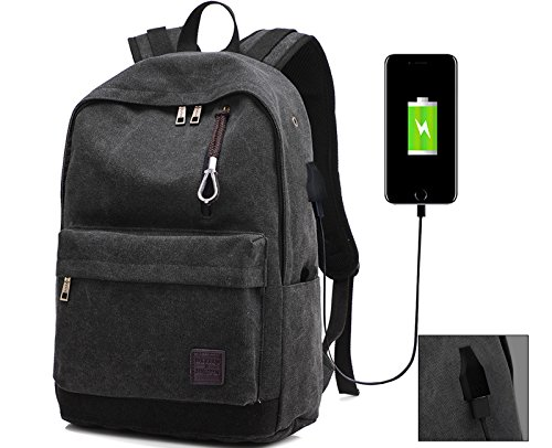 Dream ya L-10 Business Laptop School Casual Travel Bag with USB Charging Port Lightweight Travel Backpack, Black