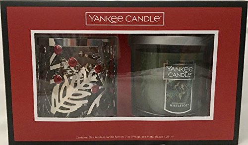 Yankee Candle Mistletoe Gift Box with a Small Tumbler Candle and a Silver Pine Holly (Silver Mistletoe)