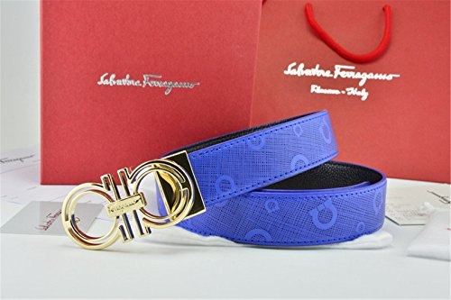 Gold Buckle Blue Leather Ferragamo - Versace Cheap For