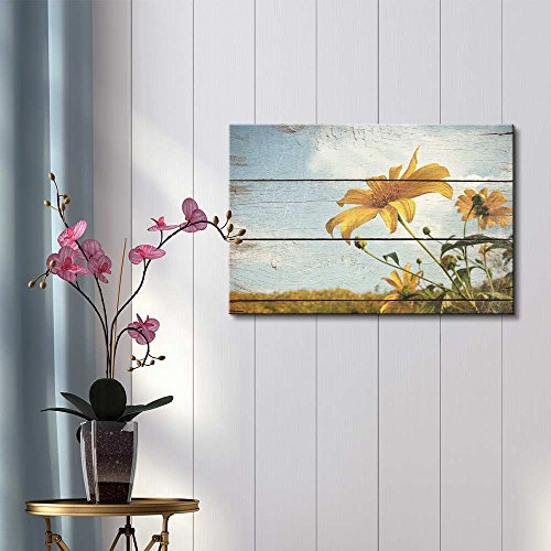 Wildflowers in a Field Rustic Floral Arrangements Pastels Colorful Beautiful Wood Grain Antique