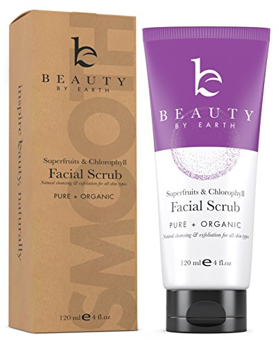 Face Scrub - Exfoliating Anti-Aging Facial Wash With Natural & Organic Vegan Ingredients - Microdermabrasion Cleanser and Exfoliator for Oily, Acne Prone, Dry, Combo, Sensitive and Mature Skin ()