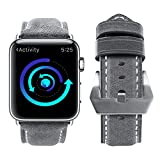 (US) For Apple Watch Band, top4cus Genuine Leather iwatch Strap Replacement Band with Stainless Metal Clasp for Apple Watch Series 3 Series 2 Series 1 Sport and Edition (Unique Gray, 42mm)