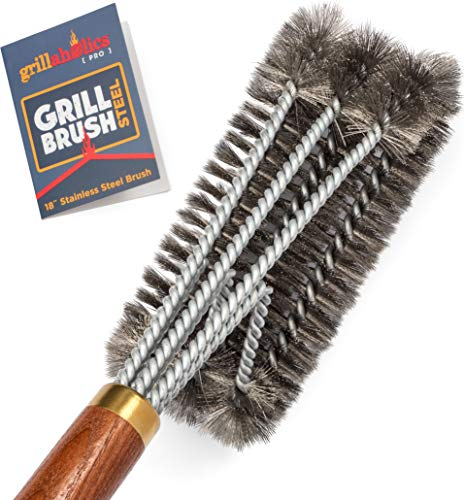 Grillaholics Pro Grill Brush Steel - Triple Machine Tested for Safety - Wire Grill Brush for Deep Grill Cleaning - Lifetime Manufacturer's Warranty