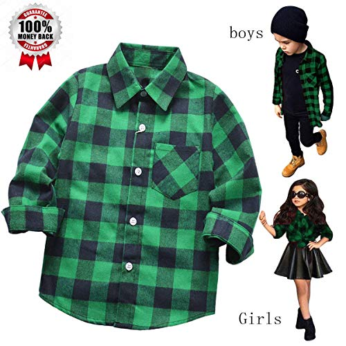 Yinggeli Little Big Boys' Long Sleeve Button Down Plaid Flannel Shirt 2-8 Years(A-E013,6T)