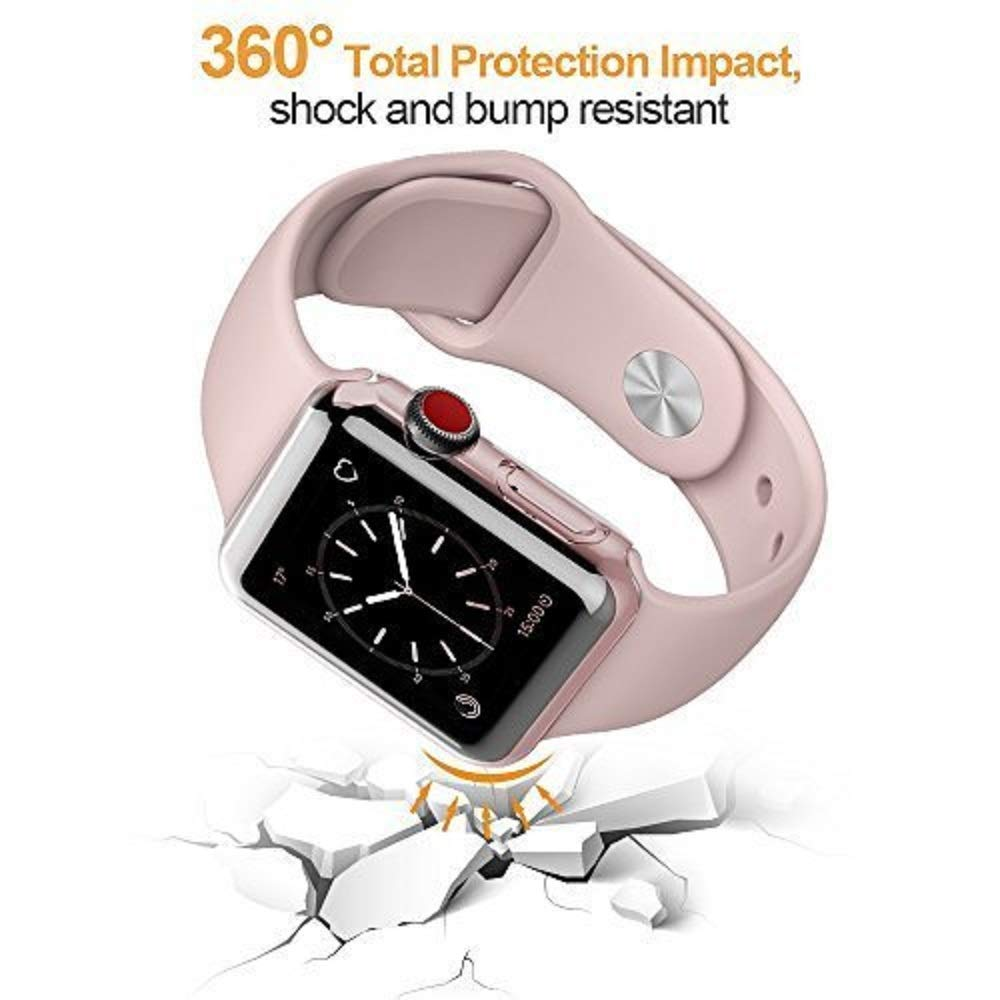 LELONG Compatible with Apple Watch Case 38mm 42mm 40mm 44mm, Soft TPU All-Around Clear Screen Protector Cover for iWatch Series 4,Series 3, Series 2 by LELONG (Image #5)