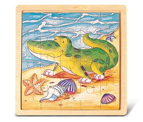 Puzzled Alligator / Crocodile Beach and Seashells w/ Sturdy Wooden Border & 20 pcs Colorful Jigsaw Puzzle |Suitable for ages 3+ |size 8