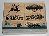 Christmas Wooden Rubber Stamps, Box Set of 6 by Momenta