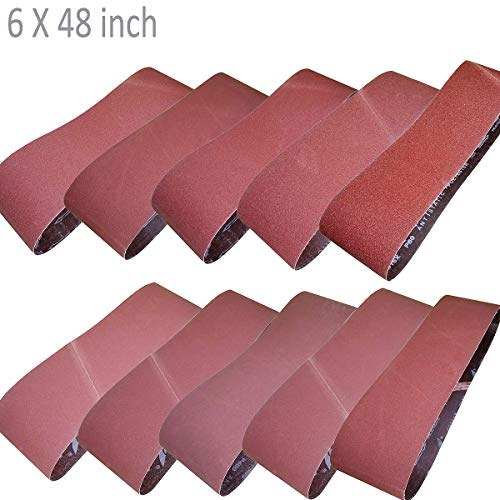 Sackorange 10 PCS Sanding Belts 6-Inch x 48-Inch 60 80 100 120 150 180 240 320 400 and 600 Grit Aluminum Oxide Sanding Belts For Belt Sander - X Belts 6 Sanding 48