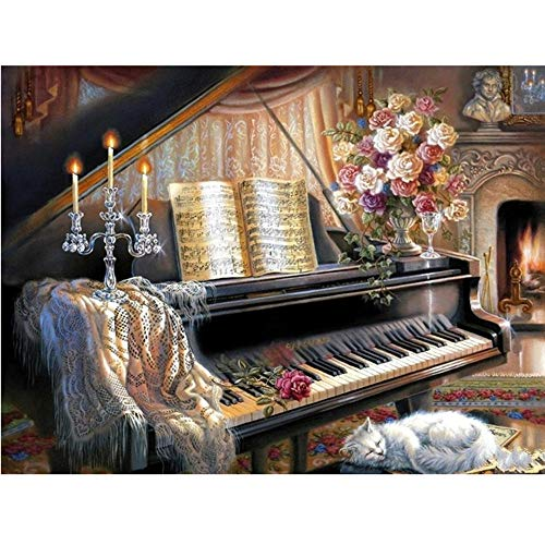 Moohue Needlework Counted Cross Stitch Kits Piano and Cat 14CT Cross Stitch Fabric DMC Cotton Thread Art Crafts (Piano and cat)