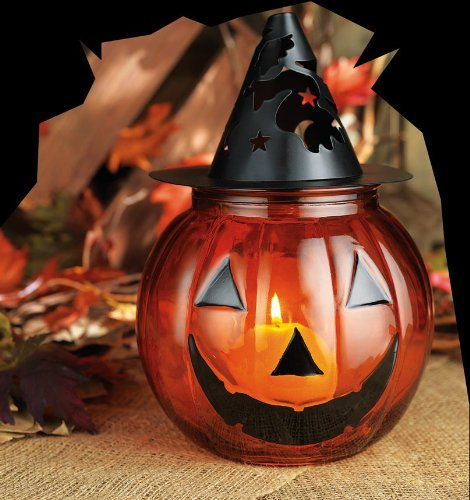 Halloween Glass & Metal Jack-o'-lantern Pumpkin Party Centerpiece