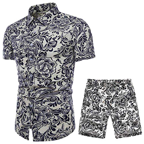 VEZAD Summer New Comfortable Fashion Short Sleeve and Short Pants Printing Men's Suit -
