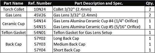 3//32 WeldingCity TIG Welding Gas Lens Accessory Kit Cup-Collet-Gas Lens-Gasket-Back Cap for Torch 17//18//26 T14 WeldingCity.com
