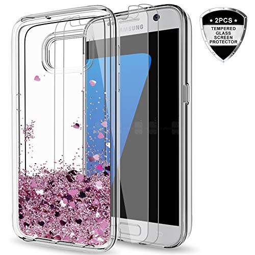 Galaxy S7 Glitter Case with Tempered Glass Screen Protector [2 Pack] for Girls Women, LeYi Cute Bling Shiny Quicksand Liquid Clear TPU Protective Phone Cover Case for Samsung Galaxy S7 ZX Rose Gold