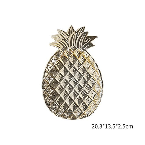 Cozymomo Decorative Gold Pineapple Leaf Ceramic Charger Plate Dish Porcelain Candy Trinket Dish Jewelry Storage Plate Crockery Tableware (Gold Pineapple)