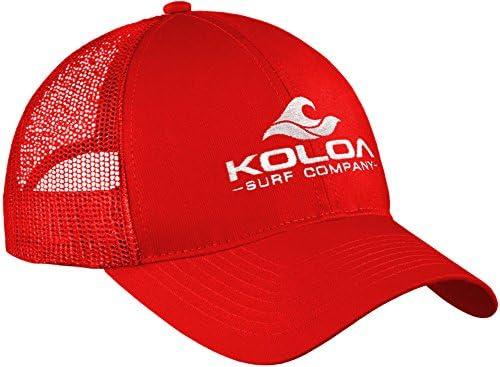 7df4b5f3f Koloa Surf Wave Logo Old School Curved Bill Mesh Snapback Hat-Red/w ...