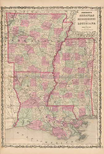 Arkansas Louisiana Antique Map Johnson 1863 Original Mississippi Anniversary Housewarming Gift Louis