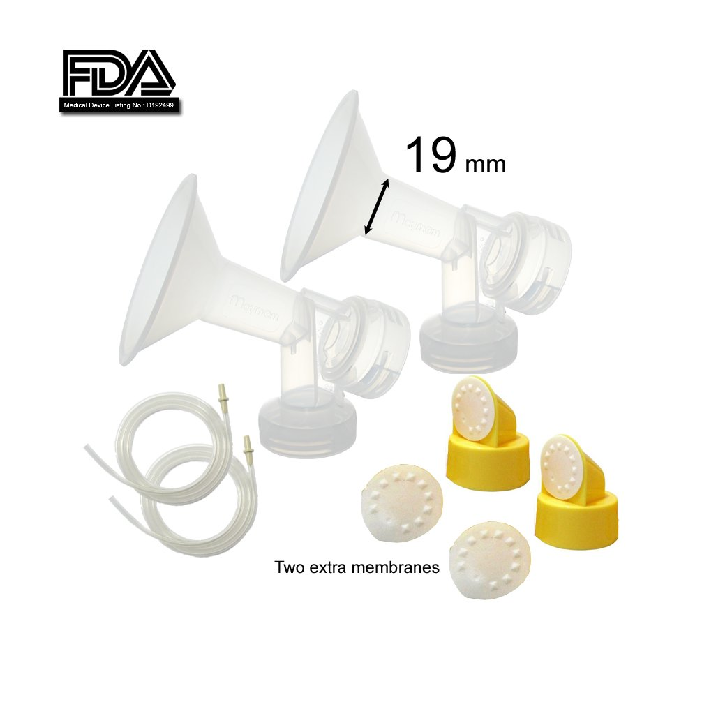 Breast Pump Kit & Accessories for Medela Pump in Style Advanced Breastpump; Made by Maymom (Breastshields (19 mm Small-), 2 Valves, 4 Membranes, 2 Tubes)