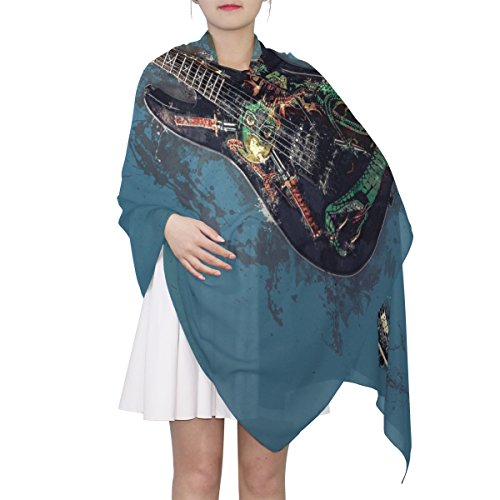 Women's Scarf Silk Scarf Blanket Lightweight Scarves Fashion Neck Scarf Poncho with Individuality Electric Guitar Shawl Wrap 70