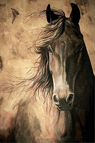 WISDOM - Horse Print 12x18 Inch Friesian Horse Acrylic Painting Equine Fine Art Print Dressage Horse Home Decor