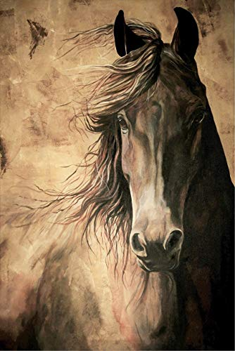 (WISDOM - Horse Print 12x18 Inch Friesian Horse Acrylic Painting Equine Fine Art Print Dressage Horse Home Decor)