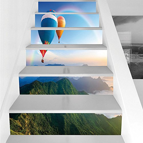 Stair Stickers Wall Stickers,6 PCS Self-Adhesive,Rainbow,Hot Air Balloon Flying Lovely Mountain Side with Clear Sky and Rainbow Decorative,Sky Blue Multicolor,Stair Riser Decal for Living Room, Hall,
