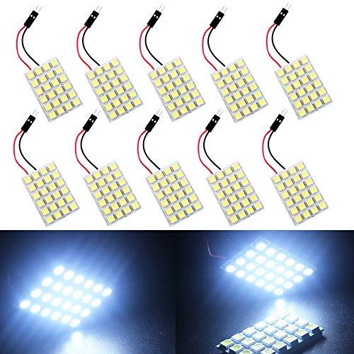T10 Festoon - GrandviewTM White 10-Pack 5050 24SMD LED Panel Dome Light Auto Car Reading Interior Lamp license plate light(DC-12V) + T10 BA9S Festoon Adapter