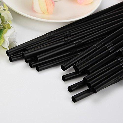 Rumas® 100Pcs Clear Flexible Drinking Straws, BPA-Free Disposable Straight Straws for Lemon Juice Beverage (Black)