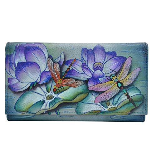 Anuschka Women's Genuine Leather Wallet | Hand Painted Original Artwork | Multipocket Clutch | Tranquil Pond