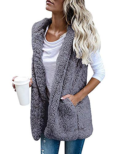 Women's Hoodied Sherpa Jacket - Casual Sleeveless Fleece Cardigan Vest X-Large Grey