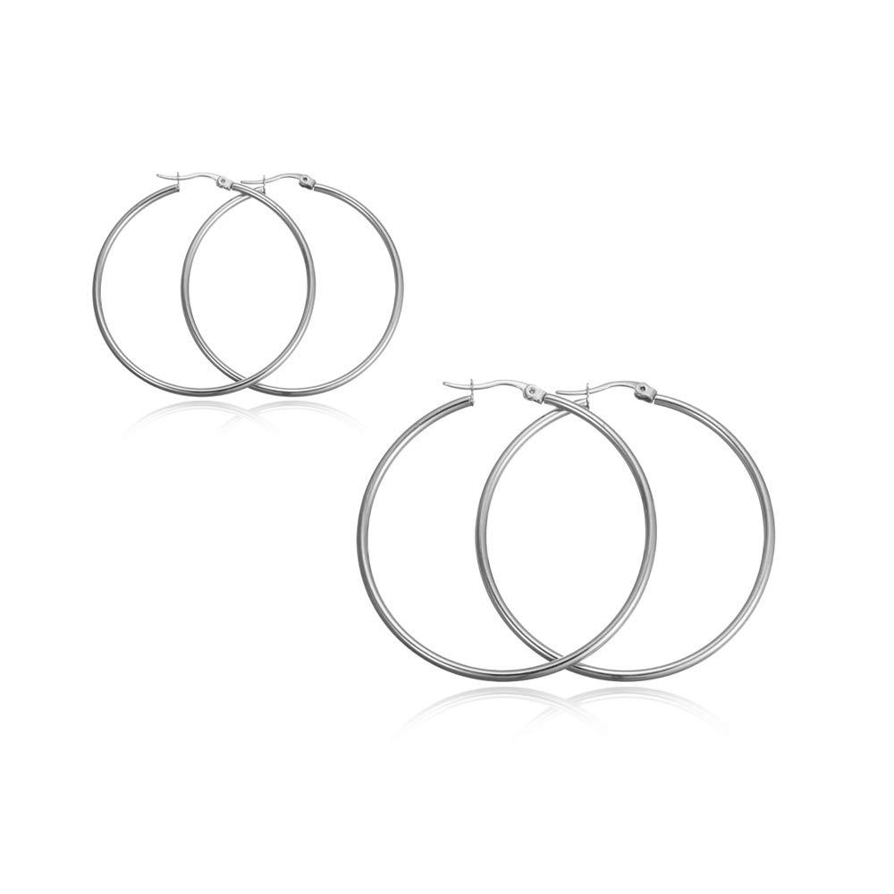 RZCXBS Women's 2 Pairs Lightweight Surgical Stainless Steel Round Hoop Earrings Set 50mm 35mm Diameter by RZCXBS
