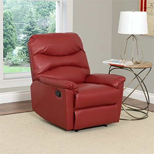 Red Leather Recliners (CorLiving LZY-459-R Luke Leather Recliner Red)