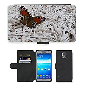 PU LEATHER case coque housse smartphone Flip bag Cover protection // M00108414 Insecto Mariposa Animal // Samsung Galaxy S5 S V SV i9600 (Not Fits S5 ACTIVE)