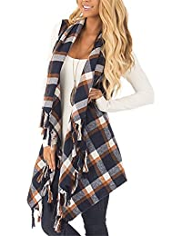 Womens Sleeveless Cardigan Plaid High Low Open Front Draped Cardigan Vests Blouses
