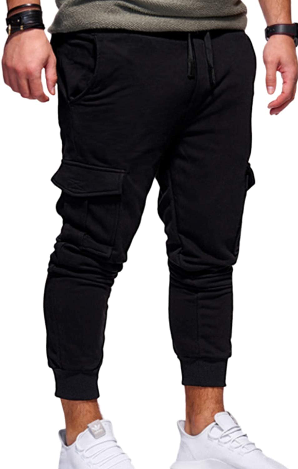 Jomuhoy Men Pants Sport Fitness Solid Multi Pocket Sweatpants Trouser