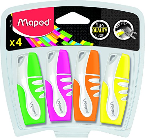 Maped Fluo Peps Mini Highlighter, Assorted Colors, Pack of 4 (742777)