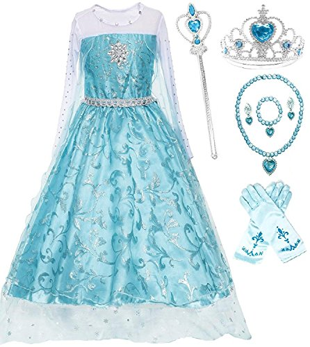 Romy's Collection Ice Queen Glitter Princess Dress (Ice Queen Costume Accessories)