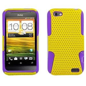 Fincibo (TM) HTC One V Primo T320e Mesh Hybrid Hard Case Gel Cover - Purple Yellow