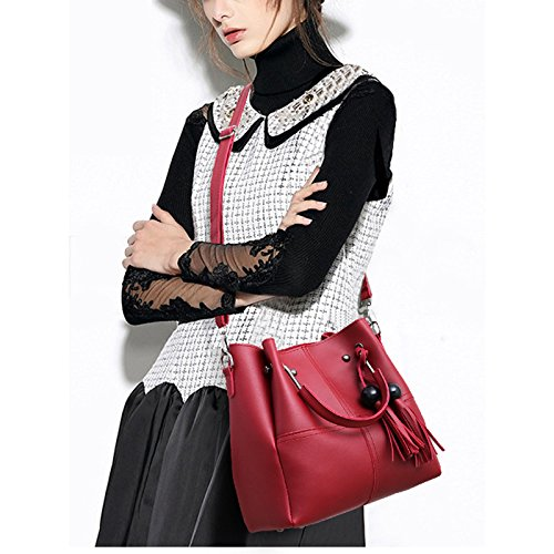 Donalworld Women Top Handle Embroidery Tassel Hard PU Leather Bag Winered by Donalworld (Image #2)