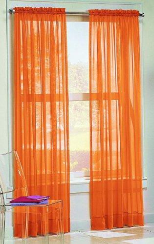 Dreamkingdom – Solid Orange Sheer Curtains/Drape/Panels/Treatment 58″x84″ (Pack of 2)