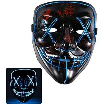ed0bb24364ab Gotega LED Halloween Mask Light Up Scary Mask Neon Mask for Halloween  Christmas, Carnival (Light Blue)