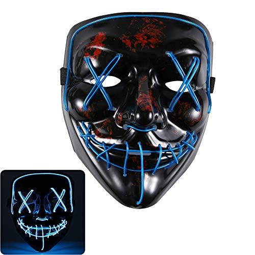 Gotega LED Halloween Mask Light Up Scary Mask Neon Mask for Halloween Christmas, Carnival (Light Blue) (Mask Psycho Borderlands)