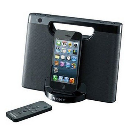 Sony RDP-M7IPN Lightning iPhone/iPod Portable Speaker Dock - Black (Portable Ipod Black Speaker)