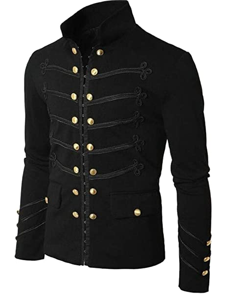 YYear Men Double-Breasted Stand Collar Gothic Wool Steampunk ...