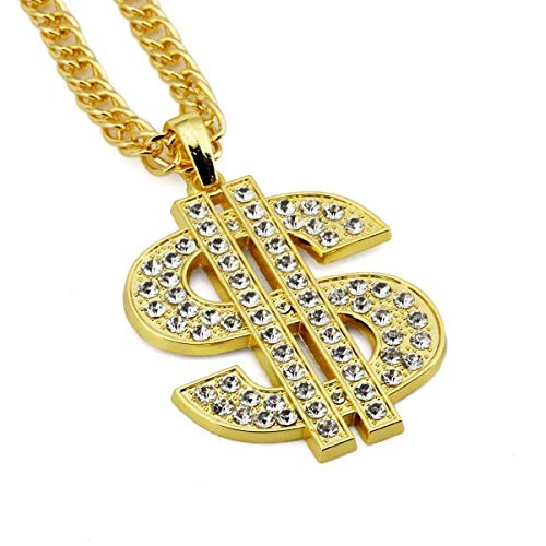 CNZONE Gold Necklace Chain with Dollar Sign, 18K Gold Plated Hip Hop Chain Necklace Pendant for Men, 30inch