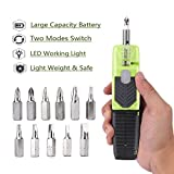 Rechargeable Screwdriver Electric Screwdriver Kit Cordless Power Precision Screwdriver with Led Light Circuit Sensor Technology and 12pcs Bit Kit